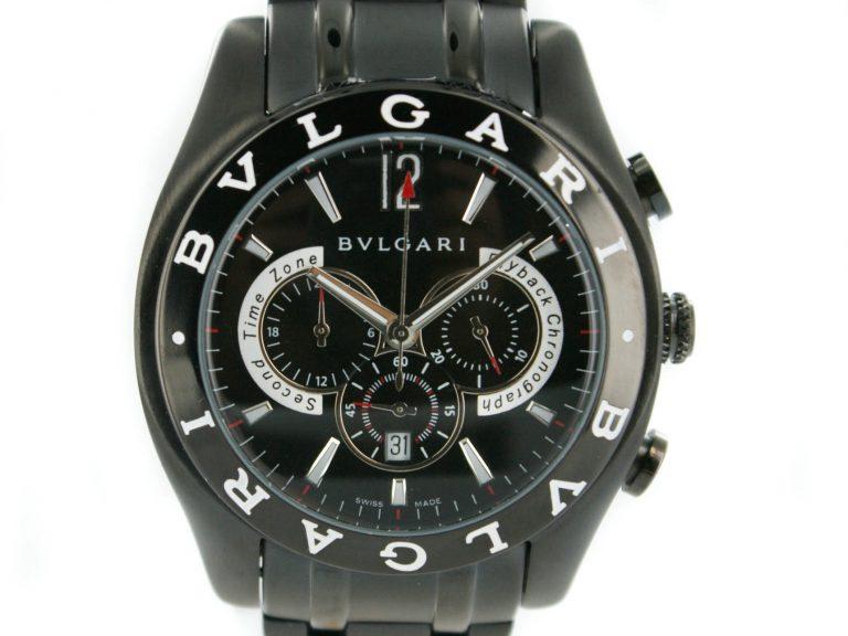 Bulgari Herren PVD schwarz Chronograph
