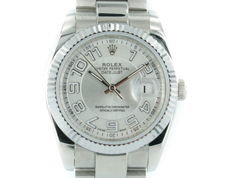 Rolex Oyster Perpetual Datejust pearlsilber mit stahl Armband