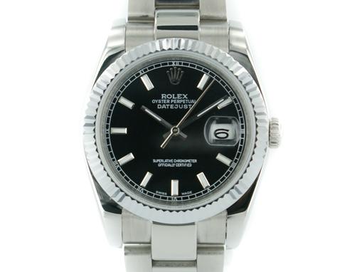 Rolex Oyster Perpetual Datejust schwarz mit stahl Armband