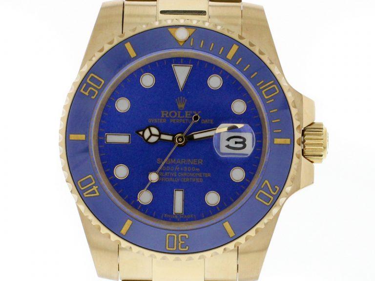 Rolex Submariner Date 18k Gold blaue Keramik-Lünette