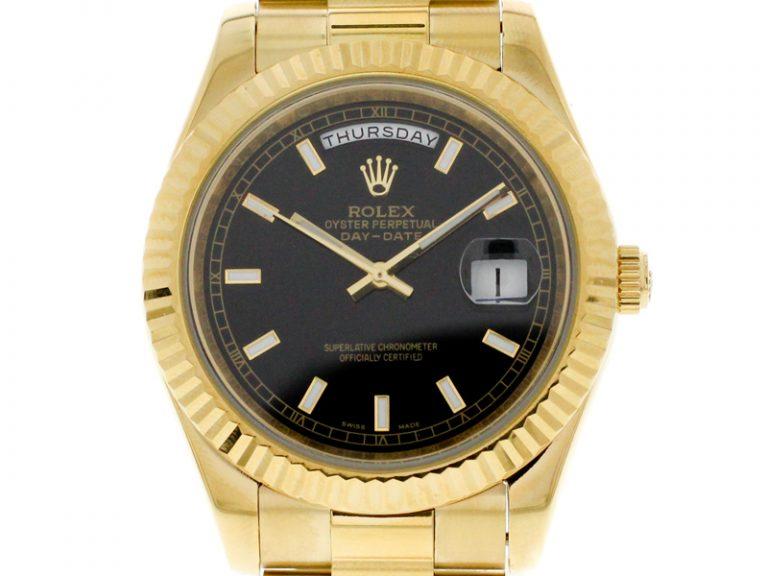 Rolex Day-Date 40mm Gelbgold President Schwarz