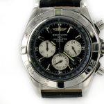 Breitling Chronomat B01 stahl - schwarz mit Leder schwarz