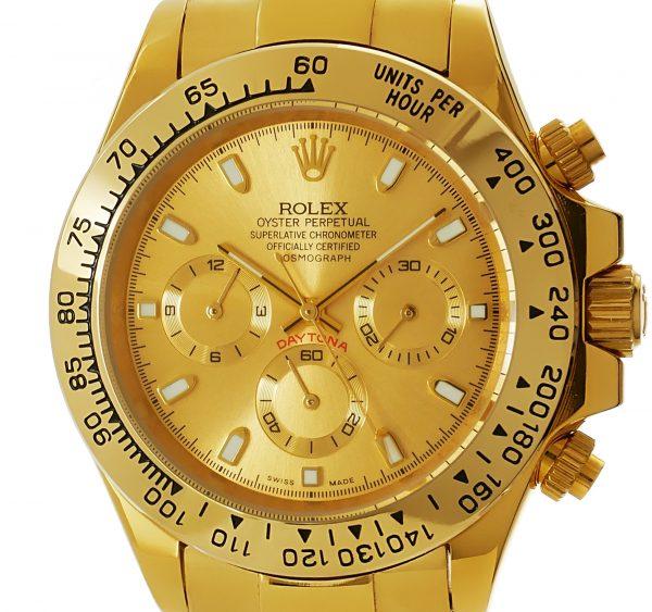 Rolex Daytona gold mit goldenem Zifferblatt