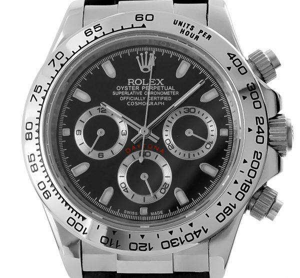 Rolex Daytona stahl/leder - schwarzes Ziffernblatt
