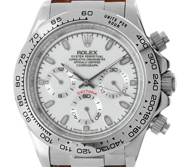 Rolex Daytona stahl/leder - weisses Ziffernblatt