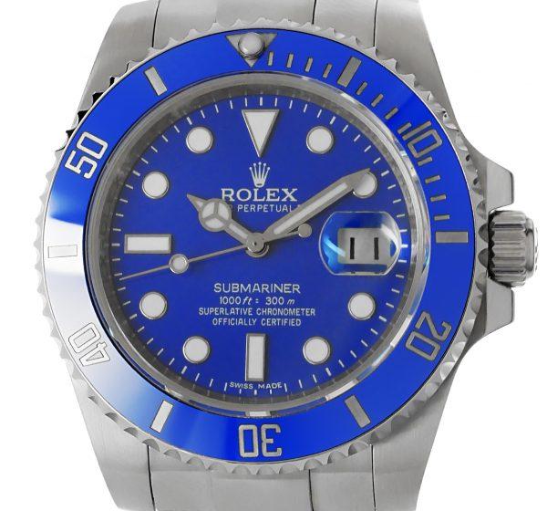 Rolex Submariner Weissgold blau mit Keramik-Lünette